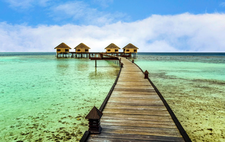 trave: Beautiful water bungalows and the beach in Maldives