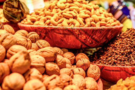 Varieties of nuts: walnuts,hazelnuts and cashew