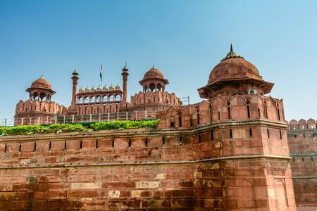 monument in india: Red Fort in New Delhi, India Stock Photo