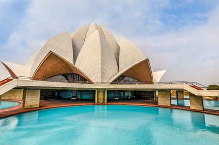 worship white: The Lotus Temple, New Delhi, India Stock Photo