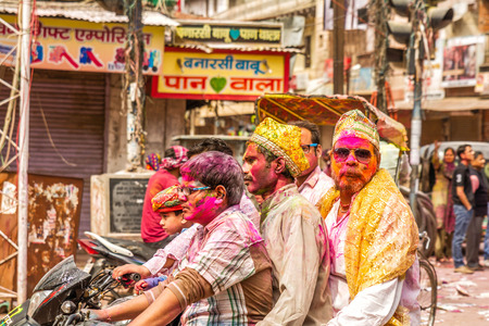 New Delhi India  March 6 2015:Young people celebrate Holi festival in India