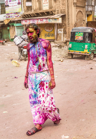 painted face: New Delhi India  March 6 2015:Men with a painted face celebrating Holi festival in India Editorial