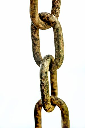 rusty chain: Old rusty chain on the white background