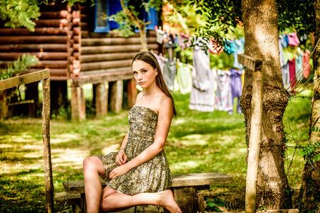 ravishing: Portrait of a beautiful teenage girl in the summer Stock Photo