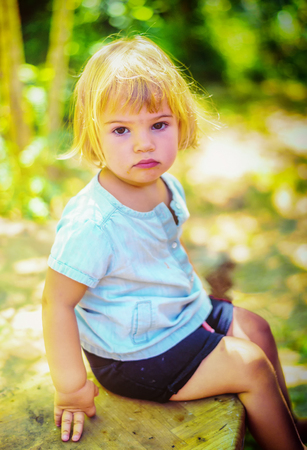 Portrait of a beautifull two year old  girl with blonde hair Stok Fotoğraf