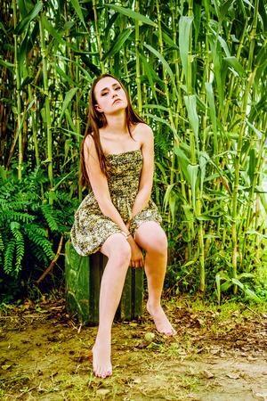 ravishing: Portrait of a beautiful teeage girl in the summer Stock Photo