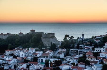 grad: The old town of Ulcinj city Stari Grad in the sunset, Montenegro Editorial