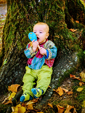 teether: Cute baby boy playing with a wooden rattle toy  and sitting by the tree in the park Stock Photo