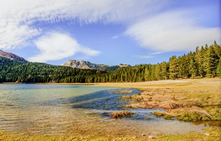 serbia and montenegro: Panorama of Black Lake  Crno jezero,Durmitor, Montenegro