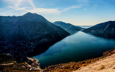 serbia and montenegro: Early morning sunrise in Bay of Kotor, Perast, Montenegro Stock Photo