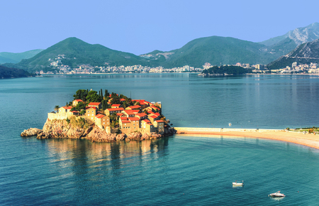 touristic: Sveti Stefan island near city of Budva, Montenegro Stock Photo