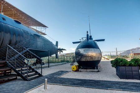 converted: Old submarine in Porto montenegro in Tivat city, Montenegro Stock Photo