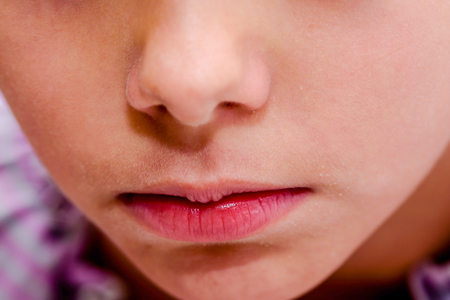 mouth close up: Little girls mouth and nose close up Stock Photo