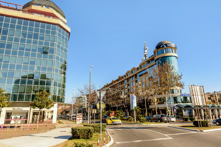 Podgorica, Montenegro- January 19,2016:Modern buildings in Podgorica, Montenegro