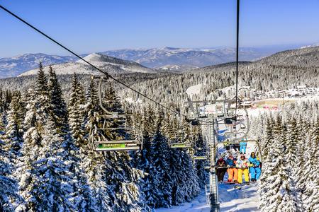 serbia: Kopaonik,Serbia- January 20, 2016: Ski lift with chairs in Kopaonik resort in Serbia