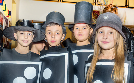 carelessness: Tivat,Montenegro- February 26, 2015: Group of school children wearing costumes for halloween