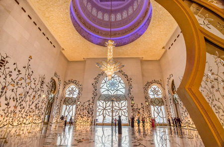 abudhabi: Abu Dhabi- March 2, 2016:Interior in Sheikh Zayed Grand Mosque in Abu Dhabi, UAE