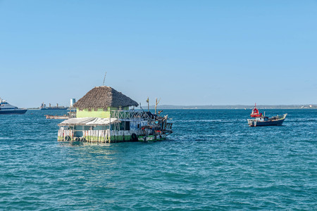 Wooden Restaurant on the water in Stone Town, Zanzibar,Tanzania