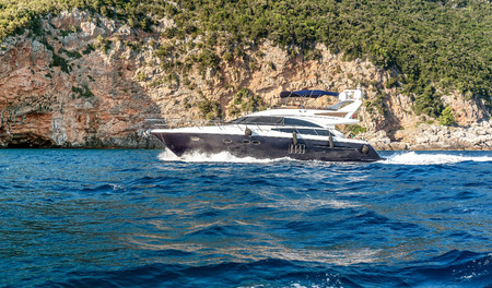 motor yacht: Motor yacht under way out at Adriatic sea, Montenegro