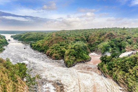 View of Murchison Falls on the Victoria Nile river National Park, Uganda Stock Photo