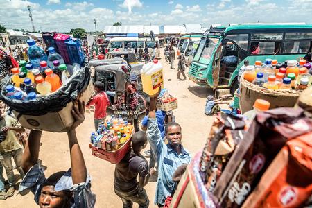 Mwanza, Tanzania- March 25, 2016:  Street vendors selling goods at Bus Station in Mwanza, Tanzania