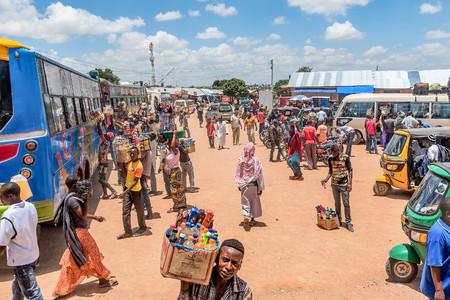 bus station: Mwanza, Tanzania- March 25, 2016: Street vendors selling goods at Bus Station in Mwanza, Tanzania Editorial