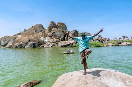 Mwanza, Tanzania- March 26, 2016:  African man posing  on  Lake Victoria near Mwanza, Tanzania Editorial