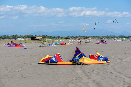 kiting: Ulcinj, Montenegro- July 18, 2016: Kitesurf power kite on the beach in Ulcinj, Montenegro