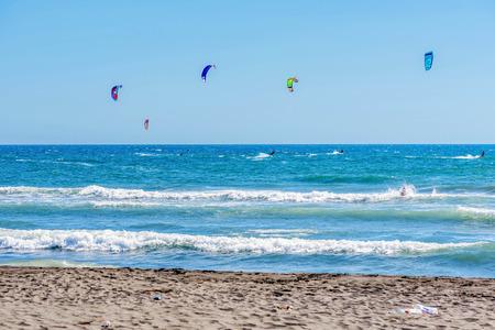 kiter: Ulcinj, Montenegro- July 18, 2016: Kitesurfing on the Adriatic sea in Ulcinj, Montenegro, Europe Editorial