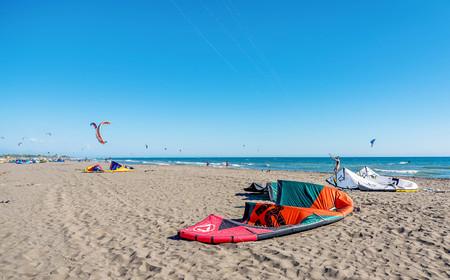 kitesurf: Ulcinj, Montenegro- July 18, 2016: Kitesurf power kite on the beach in Ulcinj, Montenegro