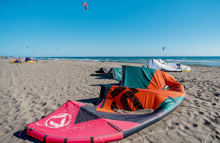 kiting: Ulcinj, Montenegro- July 18, 2016: Kitesurf power kite on the beach in Ulcinj, Montenegro