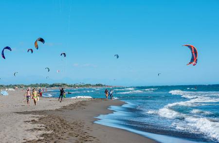 kiter: Ulcinj, Montenegro- July 18, 2016: Kitesurfers on the beach in Ulcinj, Montenegro