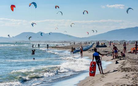 Ulcinj, Montenegro- July 18, 2016: Kitesurfers on the beach in Ulcinj, Montenegro