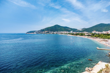 Budva town sea view,Montenegro Stock Photo