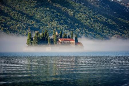 kotor: Saint George Island near Perast in the Bay of Kotor, Montenegro