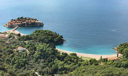 islet: Landscape of the islet St. Stephen  in Budva, Montenegro