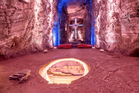Cross and Thombstone in Zipaquira Salt Cathedral, Colombia
