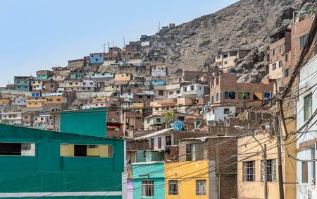 Cerro San Cristobal slum in Lima, Peru Stock Photo