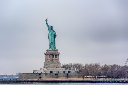 Statue of Liberty from the ferry boat, New York City Stock Photo