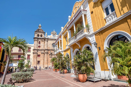 Cartagena, Colombia- March 2, 2017:Buildings in the old town Cartagena, Colombia