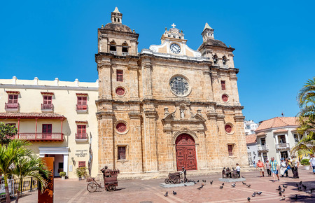 worl: Cartagena, Colombia- March 2, 2017:Church of San Pedro Claver in old town Cartagena, Colombia Editorial