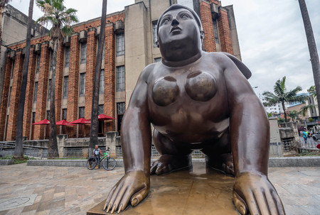 recently: Medellin, Colombia- March 5, 2017: Statues at Antioquia Department, Medellin near Botero Museum
