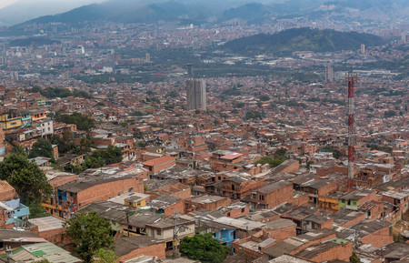Slums in the city of Medellin, Colombia