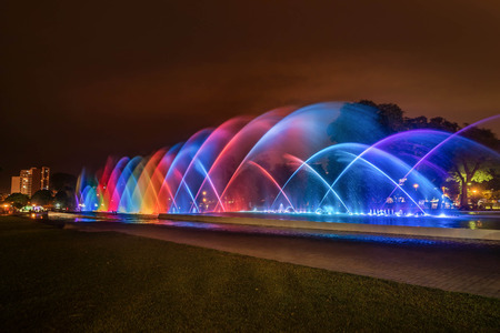 Colorful Fountain at night in the Park of the Reserve in Lima, Peru