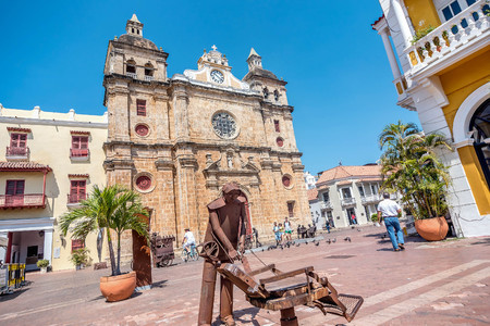 worl: Cartagena, Colombia- March 2, 2017: Church of San Pedro Claver in old town Cartagena, Colombia Editorial