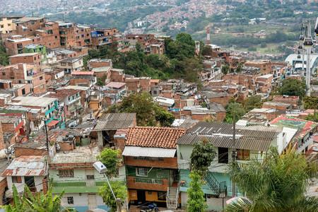 Slums in the city of Medellin, Colombia