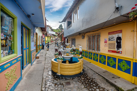 Brightly colored street in Guatape, Colombia Editorial