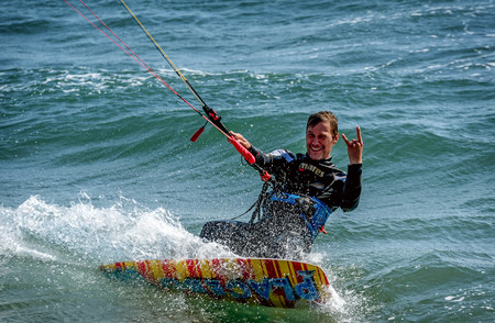 Ulcinj, Montenegro- May 2, 2017: Kitesurfing on the Adriatic sea in Montenegro