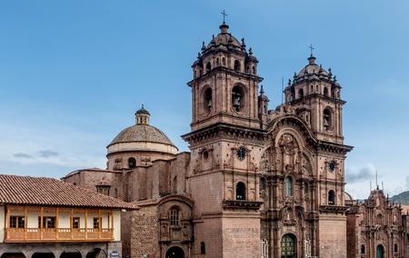 verticals: La Compania de Jesus ( Company of Jesus ) Church in Cusco, Peru Stock Photo