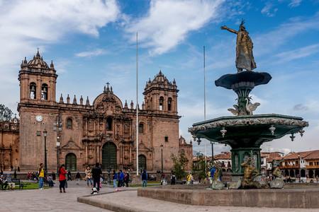 Cusco, Peru- March 16, 2017:Statue at the Plaza de Armas in Cusco, Peru